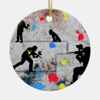 Paintball Battle Double-Sided Ceramic Round Christmas Ornament