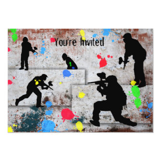 Paintball Battle Invited 5x7 Paper Invitation Card