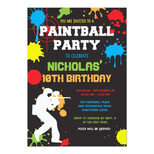 paintball birthday invitation / paintball birthday  zazzle, Birthday invitations