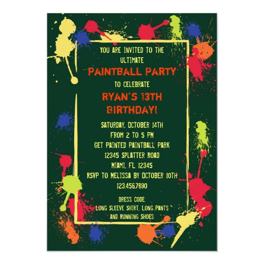 paintball birthday party invitation  zazzle, Birthday invitations