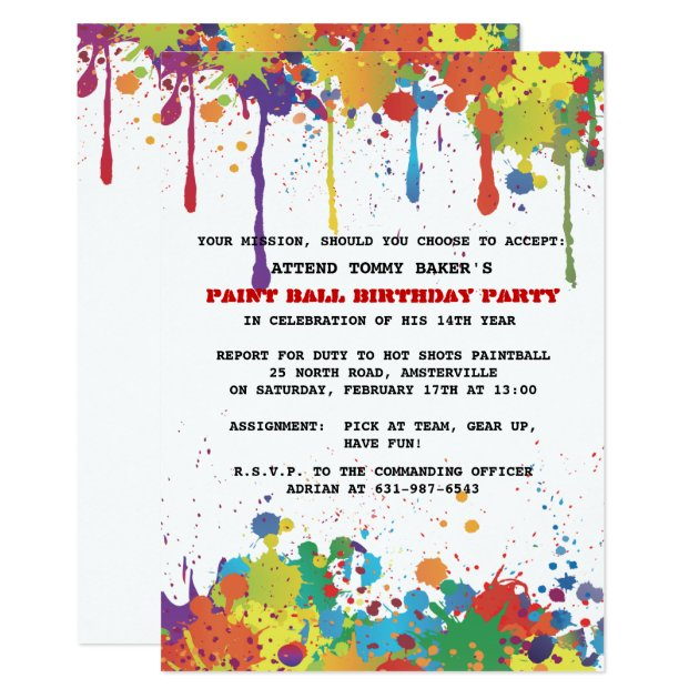paintball invitations & announcements | zazzle, Party invitations