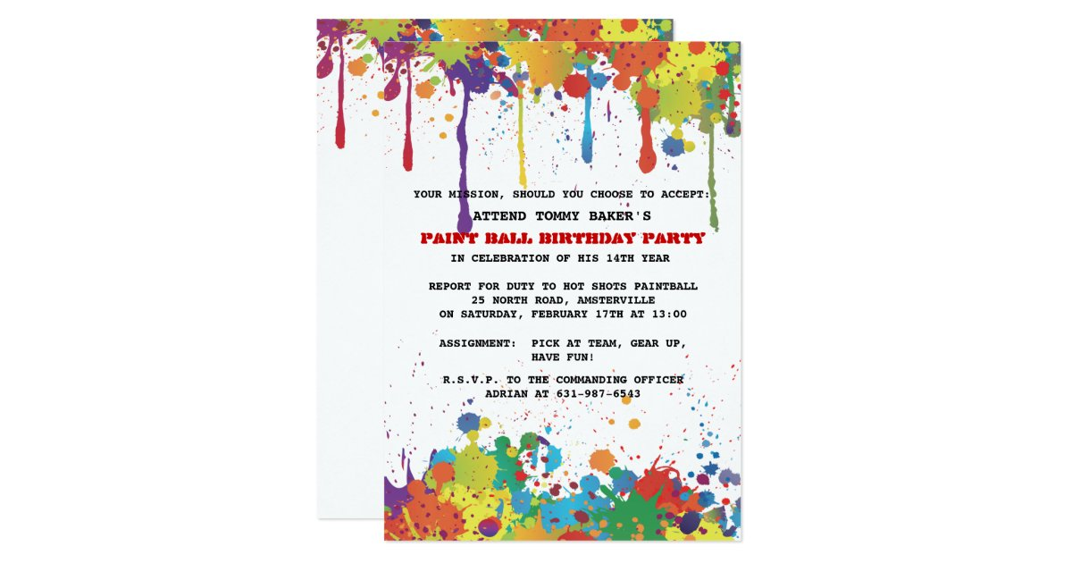 Paintball Party Invitations – unitedarmy.info