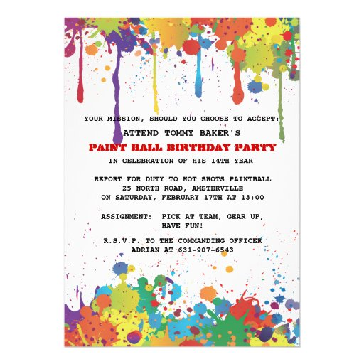 personalized paintball party invitations | custominvitations4u, Birthday invitations