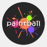 Paintball fresco etiquetas redondas