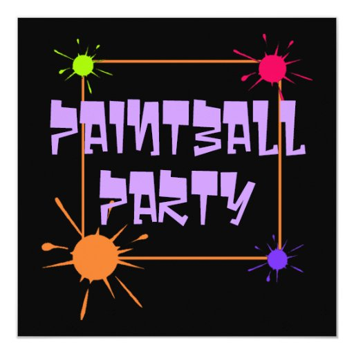 "PAINTBALL GET-TOGETHER PARTY INVITATION INVITE 5.25"" SQUARE INVITATION CARD"