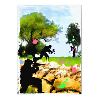 Paintball in the Spring 5x7 Paper Invitation Card