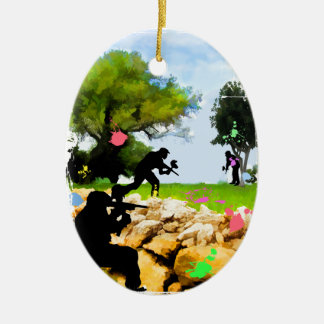 Paintball in the Spring Ceramic Ornament