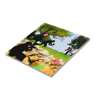 Paintball in the Spring Ceramic Tiles