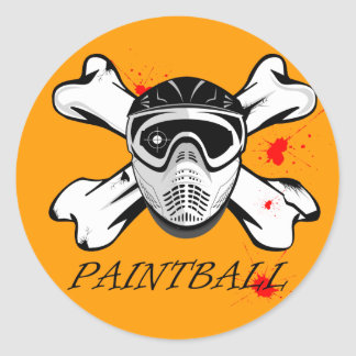 Paintball mask classic round sticker