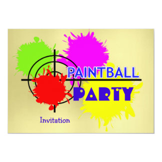 Paintball Party Gun Shot Paint Splats Card