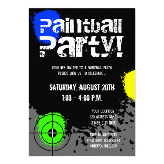 Paintball party invitations | Custom invites