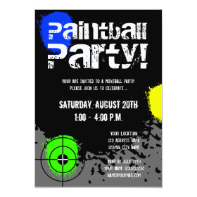 Paintball party invitations | Custom invites 5