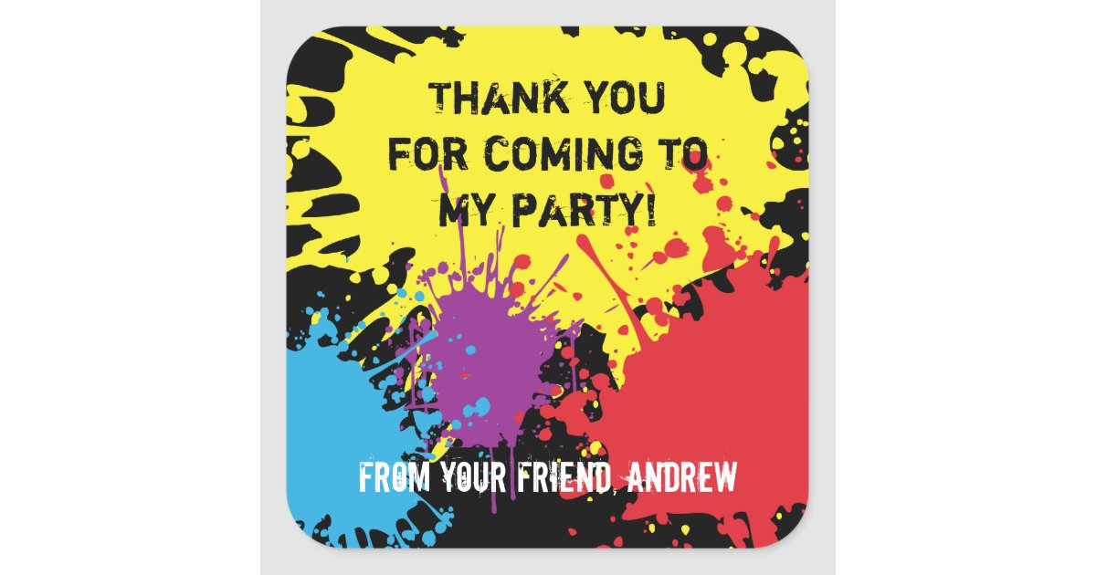 Paintball Party Thank You Sticker | Zazzle.com