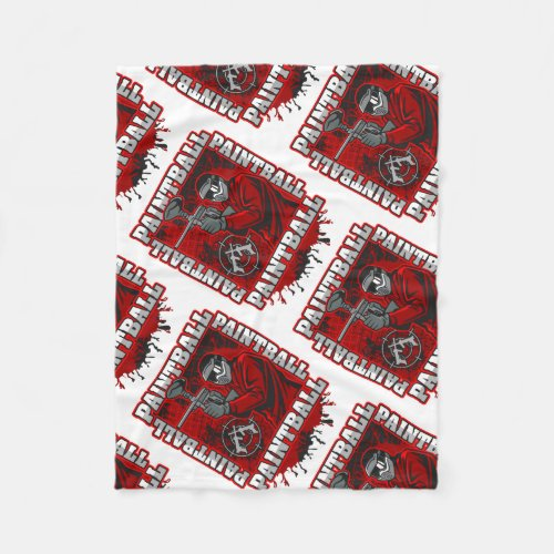 Paintball Player Red Team Colors Fleece Blanket
