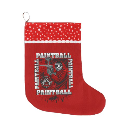 Paintball Player Red Team Colors Large Christmas Stocking