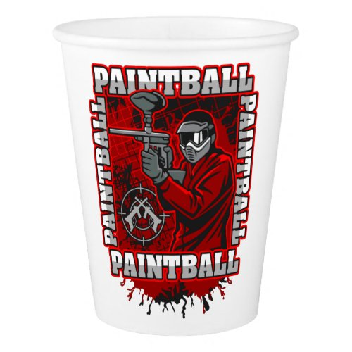 Paintball Player Red Team Colors Paper Cup
