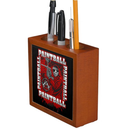 Paintball Player Red Team Colors Pencil Holder