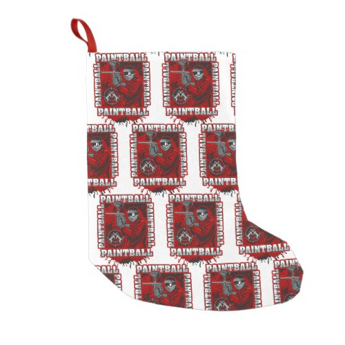 Paintball Player Red Team Colors Small Christmas Stocking