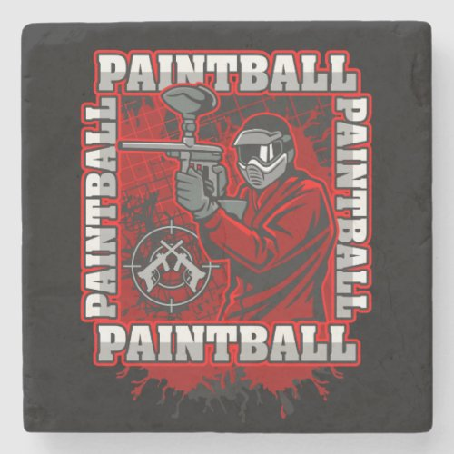 Paintball Player Red Team Colors Stone Coaster