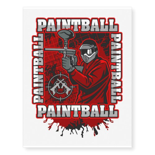 Paintball Player Red Team Colors Temporary Tattoos