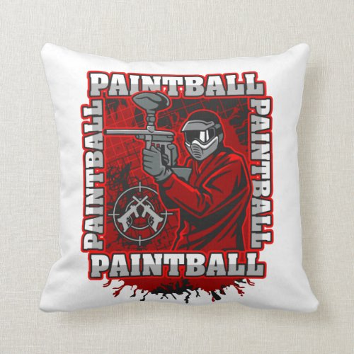 Paintball Player Red Team Colors Throw Pillow