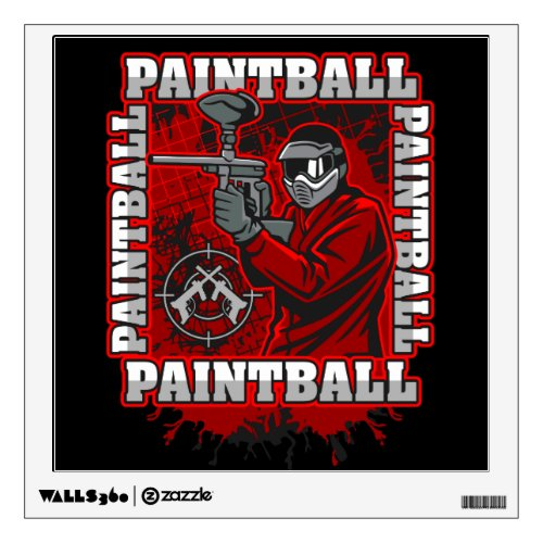 Paintball Player Red Team Colors Wall Sticker