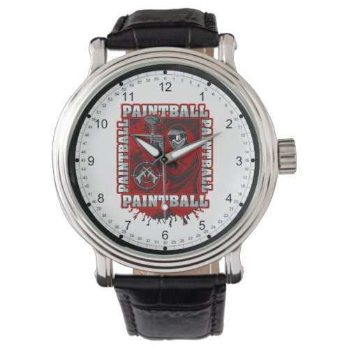 Paintball Player Red Team Colors Watch