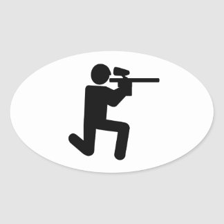 Paintball player oval stickers