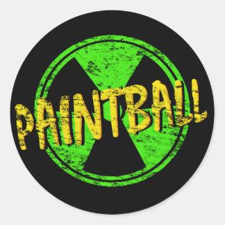Paintball radiactivo etiqueta