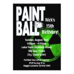 Paintball Radio Active Birthday 5x7 Paper Invitation Card