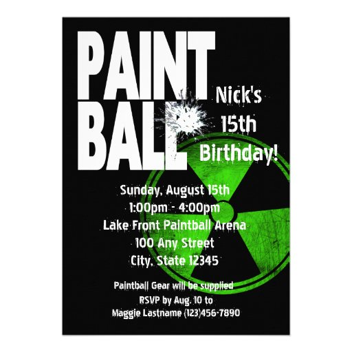 Paintball Radio Active Birthday Personalized Announcement