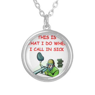 PAINTBALL ROUND PENDANT NECKLACE