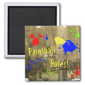Paintball Rules on a Grunge Wall 2 Inch Square Magnet
