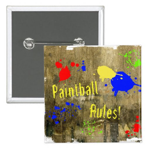 Paintball Rules on a Grunge Wall Button