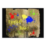 Paintball Rules on a Grunge Wall 5x7 Paper Invitation Card