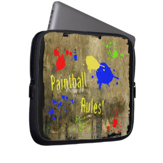 Paintball Rules on a Grunge Wall Laptop Computer Sleeves