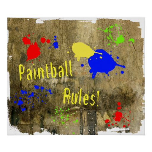 Paintball Rules on a Grunge Wall Poster