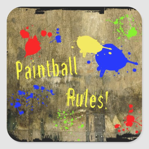 Paintball Rules on a Grunge Wall Square Stickers