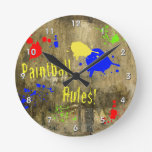 Paintball Rules Text with Splatters of Grunge Wall Clock