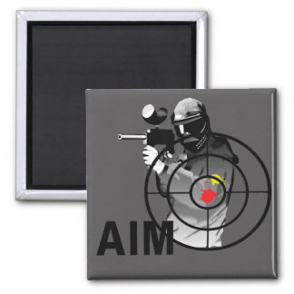 Paintball Shooter - Aim 2 Inch Square Magnet