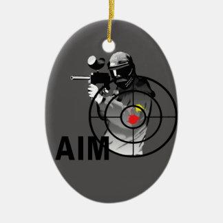 Paintball Shooter - Aim Double-Sided Oval Ceramic Christmas Ornament