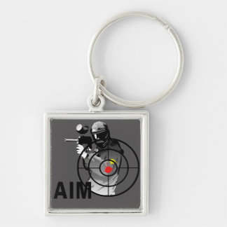 Paintball Shooter - Aim Silver-Colored Square Keychain