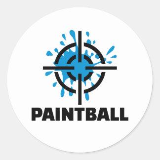 Paintball splash crosshairs round sticker