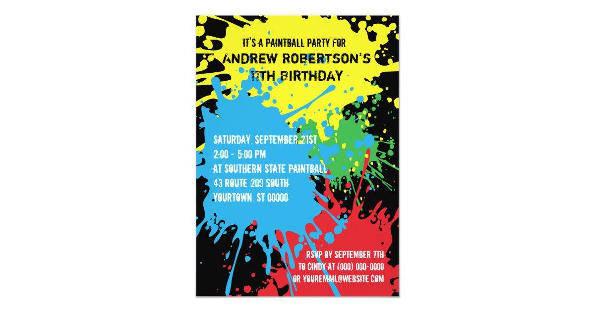 Paintball Splat Party Invitation | Zazzle.com