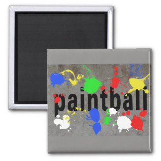 Paintball Splatter on Concrete Wall 2 Inch Square Magnet