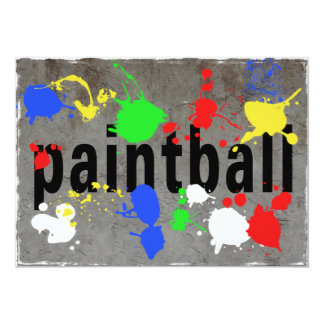 Paintball Splatter on Concrete Wall 5x7 Paper Invitation Card