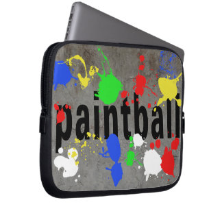 Paintball Splatter on Concrete Wall Computer Sleeves