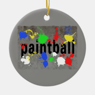 Paintball Splatter on Concrete Wall Double-Sided Ceramic Round Christmas Ornament
