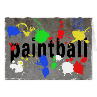 Paintball Splatter on Concrete Wall Greeting Card