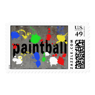 Paintball Splatter on Concrete Wall Postage